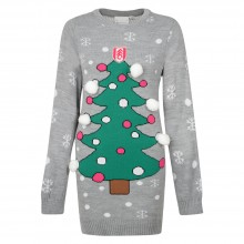 Fulham FC Ladies Xmas Long Tree Jumper